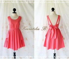 A Party - V Shape Dress - Prom Party Cocktail Bridesmaid Wedding Night Dress Sweet Watermelon Pink Glamorous Backless Cocktail Dress