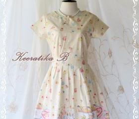 Sweet Spring Time - Spring Summer Collection Sweet And Cutie Fairyland Print Cotton Party Dress Pale Yellow Pinkish Print