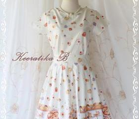Sweet Spring Time - Spring Summer Collection Sweet And Cutie Fairyland Print Cotton Party Dress Pale Ivory Pinkish Print