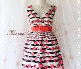 Miss Floral - Stripe And Roses Print Spring Summer Sundress Elegant Party Beach Tropical Dress S-M