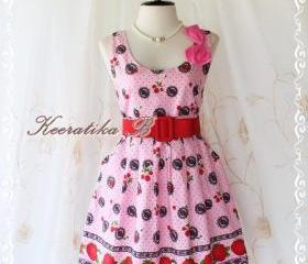 Little Jazzie II - Sweet Cutie Spring Summer Sundress Strawberry Print Pink Dress Party Beach Vacation Dress