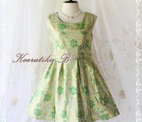 Classical Simply Dress - Elegant Golden And Green Fabric Simply Sweet Cocktail Party Prom Dinner Night Dress Pleated Skirt