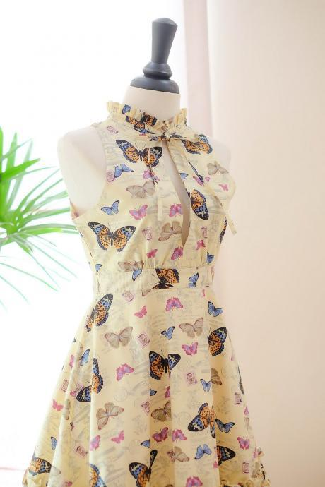 HANDMADE DRESS Marry Floral dress Vintage dress spring summer sundress Old faded yellow dress butterfly bridesmaid dresses