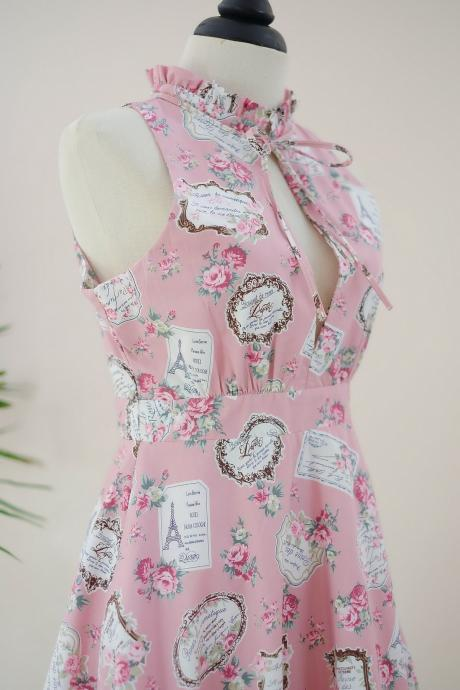 HANDMADE DRESS Marry Floral dress Vintage dress spring summer sundress pink floral dress pink bridesmaid dresses