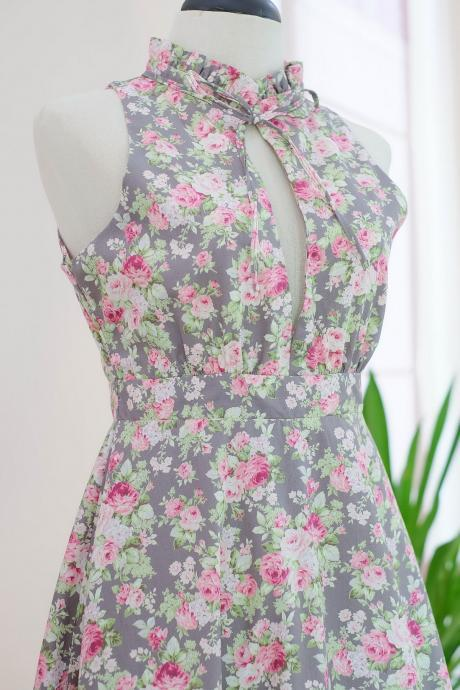 HANDMADE dress Marry Floral dress Vintage dress spring summer sundress gray floral dress gray bridesmaid dresses