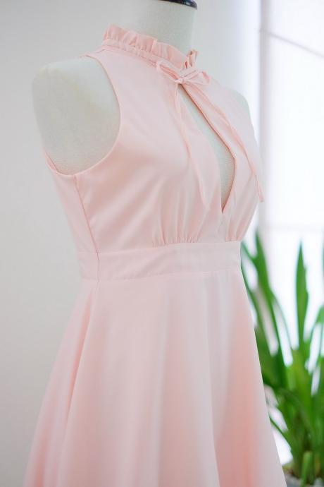 HANDMADE dress Marry Sundress pink blush dress ruffle neck pink bridesmaid dress prom dress party dress cocktail dress