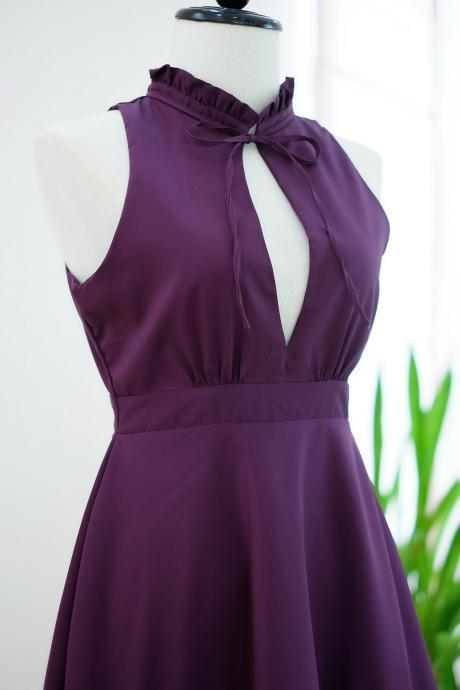 HANDMADE dress Marry Sundress plum dress ruffle neck plum bridesmaid dress prom dress party dress cocktail dress