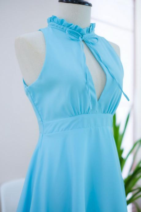 HANDMADE dress Marry Sundress blue dress ruffle neck blue bridesmaid dress prom dress party dress cocktail dress