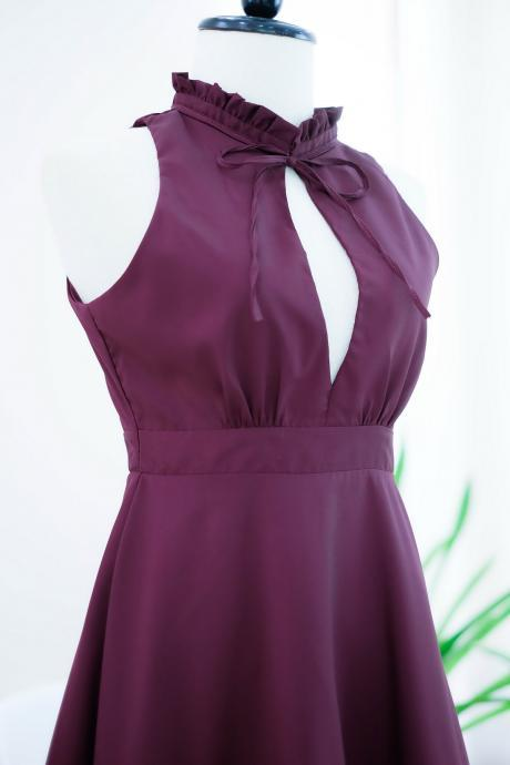HANDMADE dress Marry Sundress Maroon dress ruffle neck Maroon bridesmaid dress prom dress party dress cocktail dress