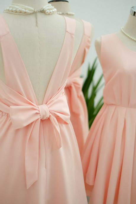 HANDMADE DRESS Pink blush dress Pink party dress Pink prom dress Pink cocktail dress bow back dress Pink blush bridesmaid dresses Pink dress
