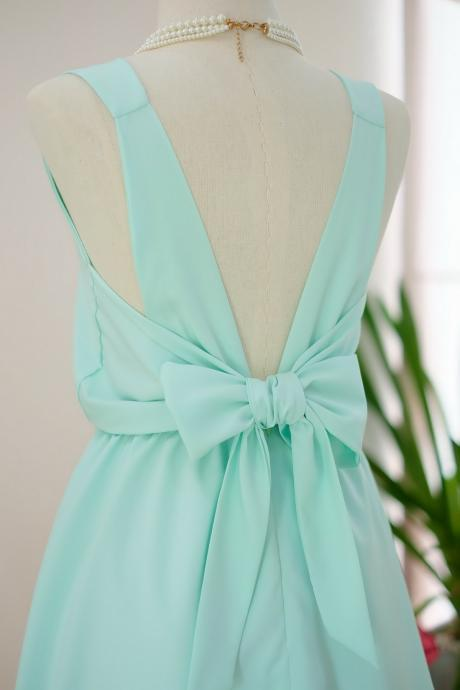 HANDMADE DRESS Mint green dress Mint green party dress Mint green prom dress Mint green cocktail dress bow back dress Mint green bridesmaid dresses Mint green dresses
