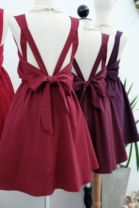 HANDMADE DRESS Burgundy dress Burgundy party dress Burgundy prom dress Burgundy cocktail dress bow back dress Burgundy bridesmaid dresses Burgundy dresses