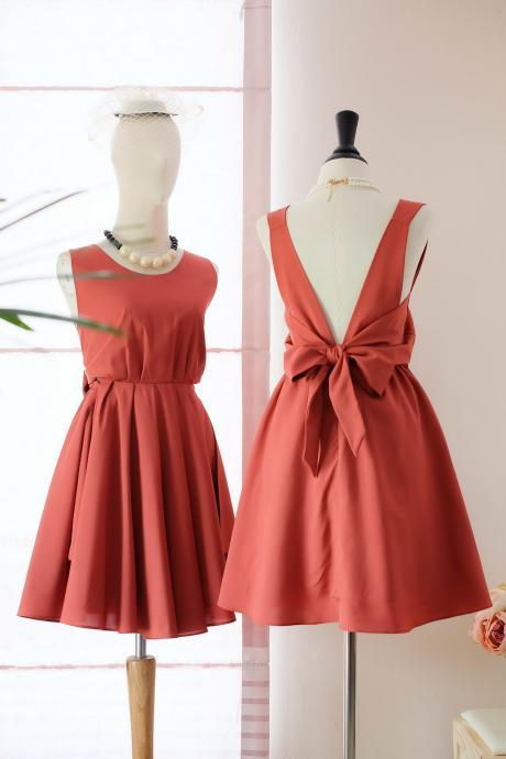 HANDMADE DRESS Dark orange dress Rust orange party dress orange prom dress orange cocktail dress bow back dress orange bridesmaid dresses orange dresses