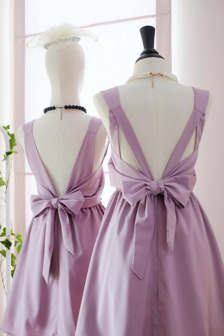 HANDMADE DRESS Mauve pink dress Mauve pink party dress Mauve pink prom dress Mauve pink cocktail dress bow back dress Mauve pink bridesmaid dresses Mauve pink dresses